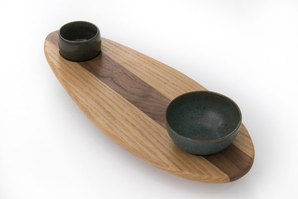 Skaters Oak Food Serving Platter with bowls