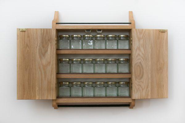 Wall Mounted Oak Spice Cupboard Rack