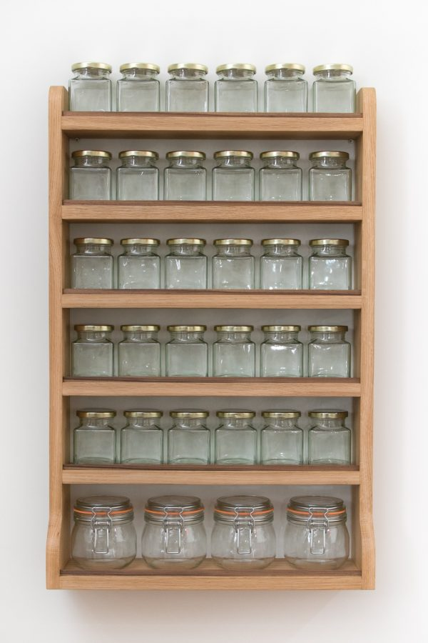 Large Oak Spice Rack With Jars