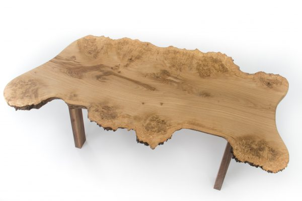 Live edge burr oak coffee table with walnut legs
