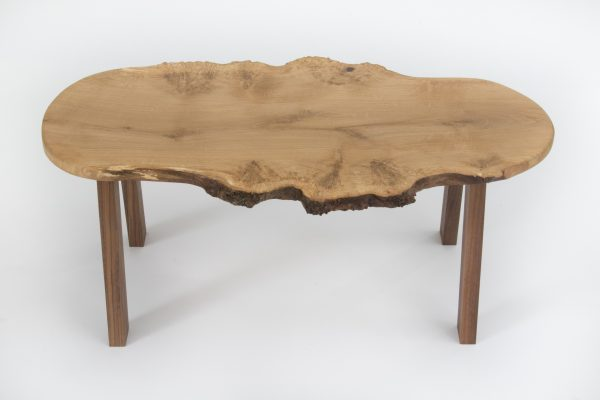 Live Edge Burr Oak Coffee Table American Black Walnut Legs