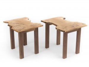 Burr Oak Side Table Pair