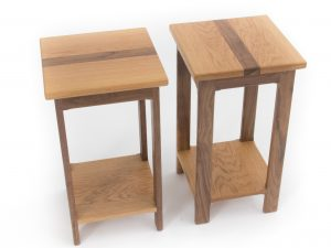 Oak Walnut Side Tables