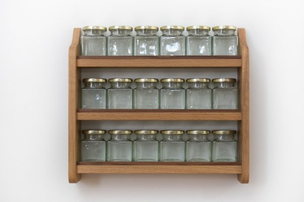 Solid Oak Spice Rack with Jars