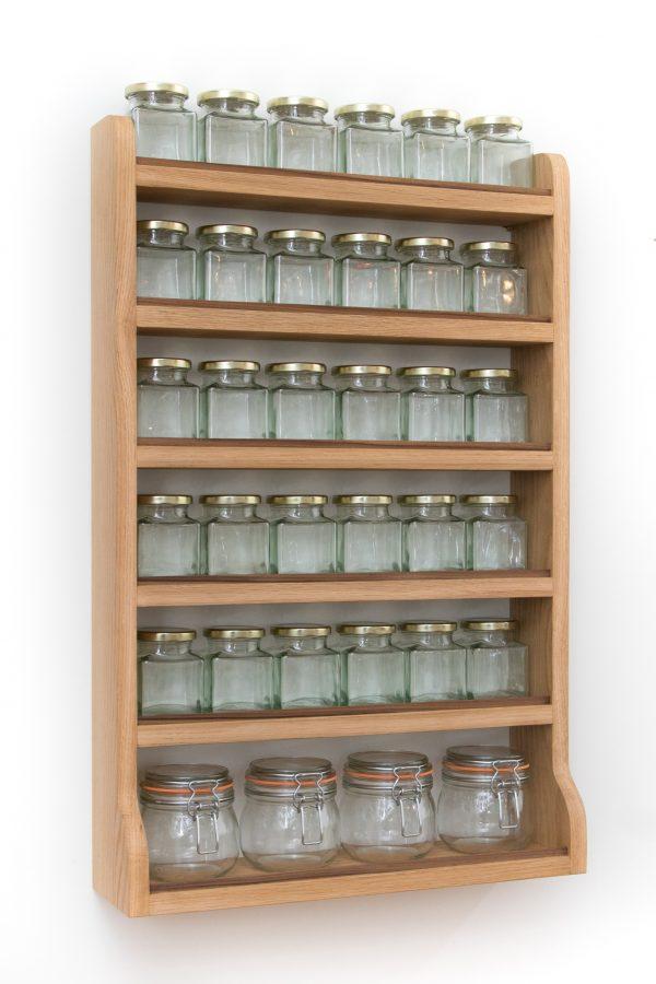 Large Oak Spice Rack Side View